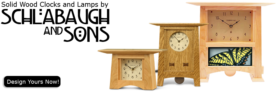 All of our fine Wood Clocks and Lamps are handmade in the USA by the Schlabaugh Family in Kalona, Iowa. These heirloom quality Arts and Crafts Style clocks are crafted with the greatest care using only the finest hard woods.  Each clock includes a fine ha