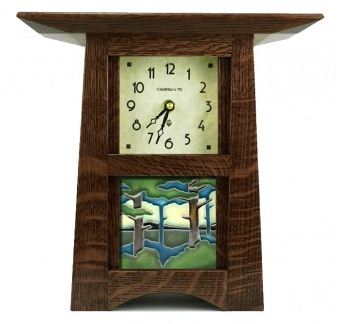 schlabaugh and sons  Motawi Tile Arts and Crafts Style wood Clock