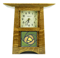 Schlabaugh and Sons Craftsman Clock with Handmade Motawi Tile. Solid oak body with nut brown finish and green Dard Hunter Rose tile.
