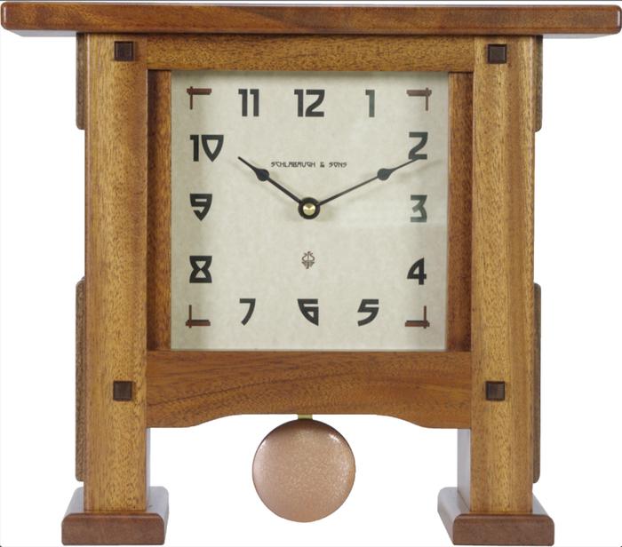 Handmade by Schlabaugh and Sons, Greene & Greene Style Pendulum Mantel Clock  in Mahogany