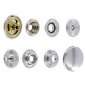 SN15B50-SP Snap Button, Cap 15mm, Short Post, Ring Socket, Nickel Plate, Solid Brass (50 per bag)