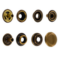 Line 24 Snaps, Cap 15mm, Ring Socket, Antique Brass, S15B51LN, Solid Brass (100 per bag)