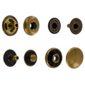 S127B10-LP Snap Button, Cap 12.7mm, Long Post, S-Spring Socket, Antique Brass, Solid Brass-LL (100 sets per bag)