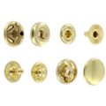 S127B10-LP Snap Button, Cap 12.7mm, Long Post, S-Spring Socket, Natural Brass, Solid Brass-LL (100 per bag)