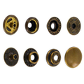 SN127B50-SP Snap Button, Cap 12.7mm, Short Post, Ring Socket, Antique Brass, Solid Brass (100 sets per bag)
