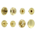 SN127B10-SP Snap Button, Cap 12.7mm, Short Post, S-Spring Socket, Natural Brass, Solid Brass (100 sets per bag)