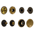 SN127B10-SP Snap Button, Cap 12.7mm, Short Post, S-Spring Socket, Antique Brass, Solid Brass (100 sets per bag)