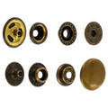 SN15B50-SP Snap Button, Cap 15mm, Short Post, Ring Socket, Antique Brass, Solid Brass (100 sets per bag)