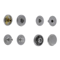 SN10B11 Snap Button, Cap 10mm, S-Spring Socket, Nickel Matte, Solid Brass (100 per bag)
