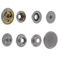 SN15B50-SP Snap Button, Cap 15mm, Short Post, Ring Socket, Nickel Matte, Solid Brass (100 sets per bag)