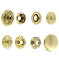 SN15B50-SP Snap Button, Cap 15mm, Short Post, Ring Socket, Natural Brass, Solid Brass (100 sets per bag)