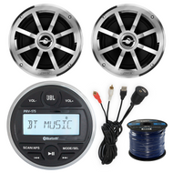 "JBL PRV175 Gauge Style Marine Boat Bike Digital Media Bluetooth Receiver With 2 x Jensen MSX60CPR 6.5"" Inch 2-Way Speakers + Enrock USB/AUX To RCA Interface Mount Cable + Enrock 50 Foot 16g Speaker Wire"