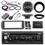 "Kenwood Bluetooth CD Harley FLHT Adapter Kit, Amplifier Set, Kicker 6.5""Speakers"