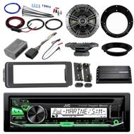 "Bluetooth JVC CD Harley 98-2013 Install Kit, Kicker Amp, Kicker 6.5"" Speakers"