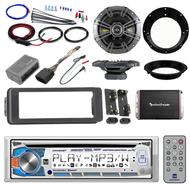 "Bluetooth Harley Dual FLHTC CD Install Adapter Kit,Amplifier Set,6.5"" Kicker Set"