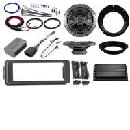 "Bluetooth USB Harley 98-2013 Adapter Install Kit, Kicker Amp, Kicker 6.5"" Set"