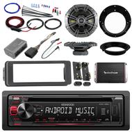 "Kenwood CD AUX Harley FLHTX Install DIN Kit, Amplifier Set, Kicker 6.5"" Speakers"