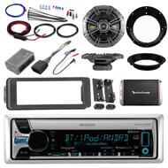 """Harley 98-2013 Install Bluetooth CD Adapter DIN Kit, Amplifier, 6.5"""" Speaker Set"""