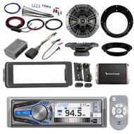 """Harley CD Bluetooth Adapter Install Kit, Amplifier Set, Kicker 6.5"""" Speaker Set"""
