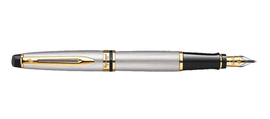 Bút Waterman EXPERT Stainless Steel Fountain Pen GT - Ngòi M - Mực Xanh - S0951940