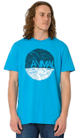 Animal Mens T Shirt Lamarinda Design in Hawaiian Blue. Front view.