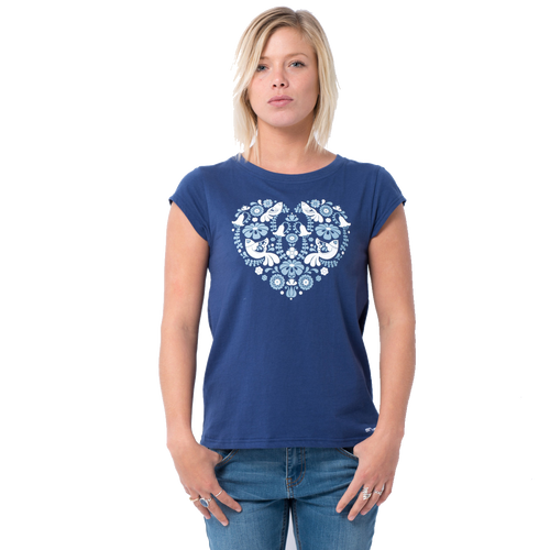 Animal Womens T-Shirt Abriel Design in Twilight Blue.