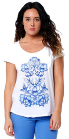 Animal Womens Top Acie Design in White.