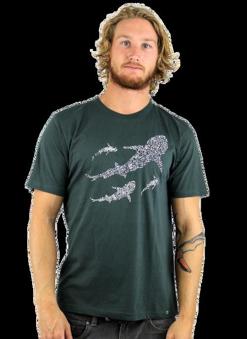 Rapanui Men's T-Shirt Save Our Seas Design in Dark Grey.