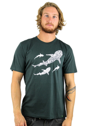 Rapanui Men's T-Shirt Save Our Seas Design in Dark Grey.