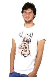 Rapanui Men's T-Shirt Stag Design in White. Front view.