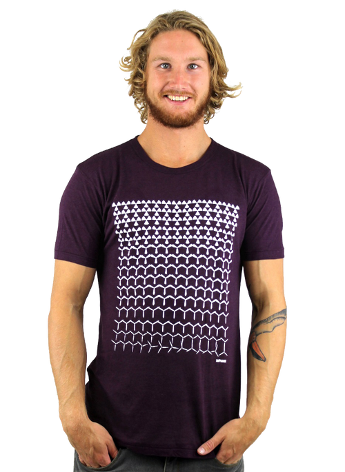 Rapanui Mens T-Shirt Revolutions Design in Purple.