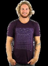 Rapanui Mens T-Shirt Revolutions Design in Purple.