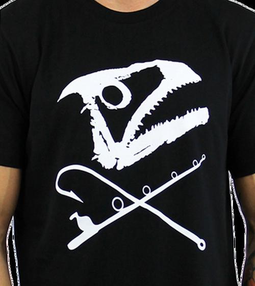 Kahuna Men's T-Shirt Fishing Design in Black.