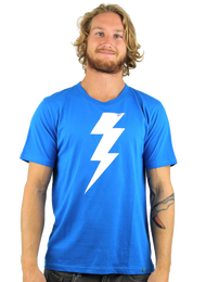 Kahuna Mens T Shirt Lightning Design in Bright Blue.