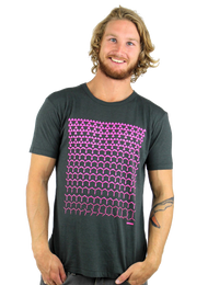 Kahuna Mens T-Shirt Revolutions Design Bamboo in Charcoal Grey.