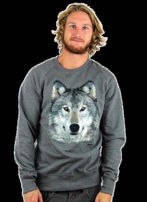 Kahuna Mens Jumper Wolf Design in Dark Heather.  Front view.