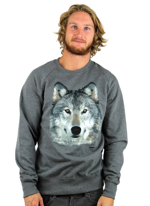 Kahuna Mens Jumper Wolf Design in Dark Heather.  Front view.