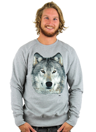 Kahuna Mens Jumper Wolf Design in Light Heather. Front view.