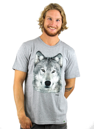 Kahuna Mens T-Shirt Wolf Design in Melange Grey.