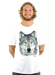 Kahuna Mens T-Shirt Wolf Design in White.