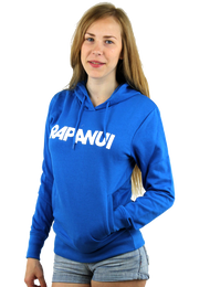 Kahuna Women's Hoodie Logo Design in Bright Blue.