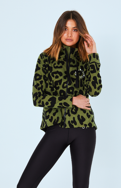 Dion Zip Up Jacket - Khaki Leopard