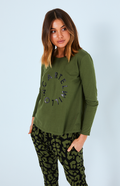 Orbit Logo Long Sleeve Top -  Khaki with Black Orbit