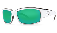 Costa Del Mar™ Polarized 580G Sunglasses: Caballito in White-Black & Green Mirror Lens