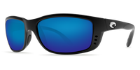 Costa Del Mar Zane Polarized Sunglasses in Black with Blue Mirror 580P Lens