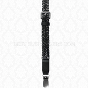 Black Leather Single Braided Buckle Strap