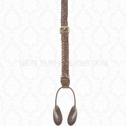 Brown Leather Single Braided Buckle Strap Button On