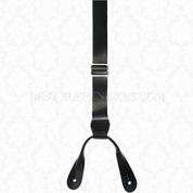 Smooth Black Flat Leather Button On Suspenders