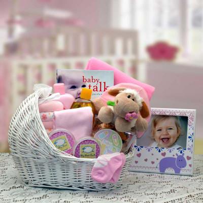 Baby Girl Bassinet Gift Basket