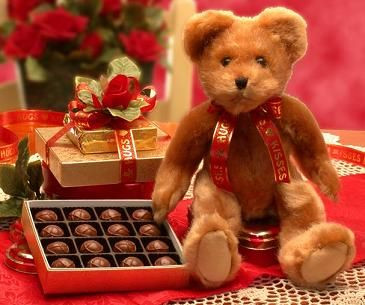 Cute Valentine's Day Plush Teddy Bear With Chocolate Truffles